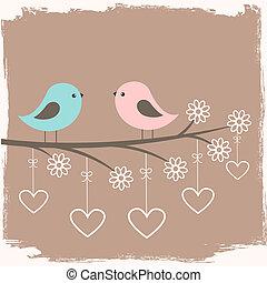 schattig, paar, vogels