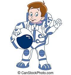 schattig, ruimtevaarder, spotprent, jongen