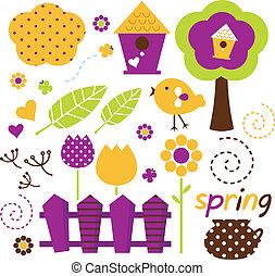 schattig, set, tuin, ), lente, vrijstaand, vector, retro, (, witte