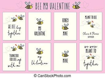 schattig, set, valentine, bij, vector, kaarten, dag