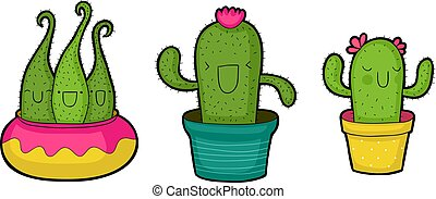 schattig, spotprent, cactussen