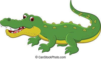 schattig, spotprent, krokodil