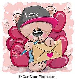 schattig, teddy beer, valentijn, spotprent, kaart
