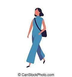 schattig, tiener, school., moderne, wandelende, vrijstaand, verticaal, meisje, style., jumpsuit, blauwe , gekke , geklede, jonge, achtergrond., witte , plat, kleurrijke, illustratie, student, vector, pupil, modieus, of