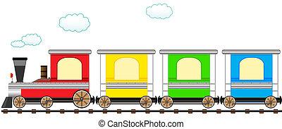 schattig, trein, bevestigingslijst, spotprent, kleurrijke