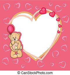 schattig, valentijn, beer, teddy