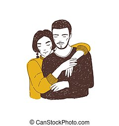 schattig, vriendin, verticaal, cuddling., partners, minnaars, valentine, love., jonge, day., getrokken, schattige, man., vrouw, paar, illustratie, hand, boyfriend, romantische, realistisch, vector, omhelzen, of