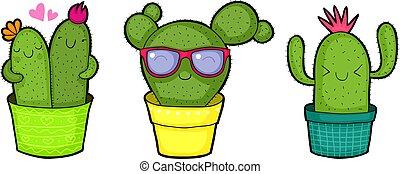 schattig, vrolijke , cactussen, spotprent