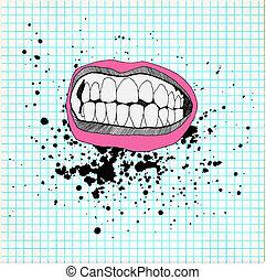 schets, grunge, paper., school, achtergrond., lippen, teeth