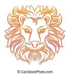 schets, kleurrijke, hoofd, leeuw
