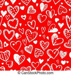 schets, model, seamless, valentijn, ontwerp, hartjes, tekening, jouw