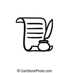 schets, pen, papier, icon., veer, boekrol