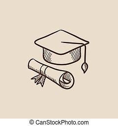 schets, pet, afgestudeerd, papier, icon., boekrol