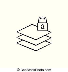 schets, slot, hand, papier, getrokken, icon., stapel