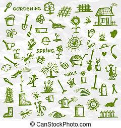 schets, spring., tuinier ontwerp, gereedschap, jouw