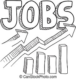 schets, toenemend, banen