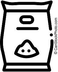 schets, zaden, bloem, pictogram, vector, illustratie, zak