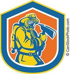 schild, brandweerman, vuur, brandweerman, vasthouden, bijl