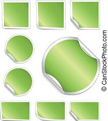 schillen, grens, stickers, witte , groene
