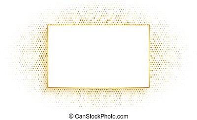 schitteren, ontwerp, gouden achtergrond, frame, rechthoek