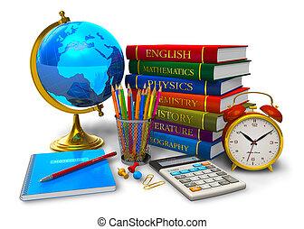 school, concept, opleiding, back
