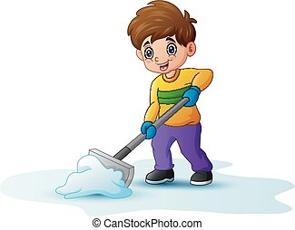 schop, gebruik, spotprent, sneeuw, poetsen, jongen