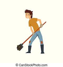 schop, graven, moe, landgoed hulpmiddel, harde werker, illustratie, tuinieren, vector, aarde, achtergrond, farmer, werken, witte