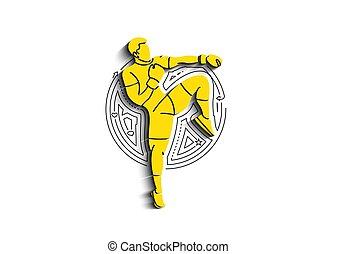 schop, silhouette, boxing, bovenkant, staand