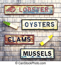 seafood, tekens & borden