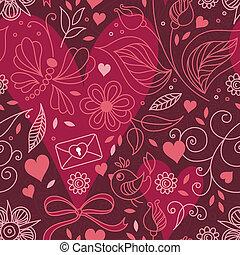 seamless, flowers., textuur, hartjes