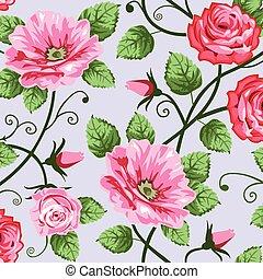 seamless, rozen, romantische, model