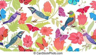 seamless, textuur, vogels, ontwerp, mooi, floral, jouw