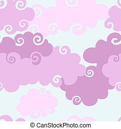 seamless, wolken, roze, achtergrond.