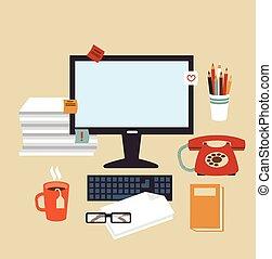 secretaresse, illustratie, bureau