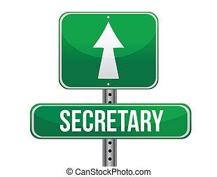 secretaresse, ontwerp, straat, illustratie, meldingsbord