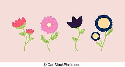 seizoen, lentebloemen, iconen, bundel