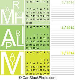 seizoenen, april, mei, jazzy, vector, incluis, lente, 2014, kalender, maart