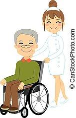 senior, patiënt, wheelchair
