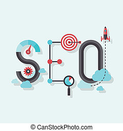 seo, plat, woord, illustratie