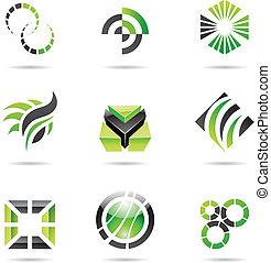 set, abstract, iconen, groene, negen, gevarieerd