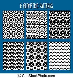 set, abstract, pattern., seamless, illustratie, achtergrond., vector, backgrounds., geometrisch