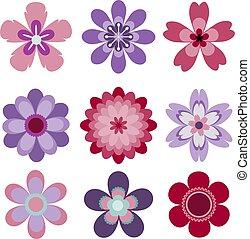 set, abstract, vrijstaand, vector, negen, bloemen