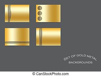 set, achtergronden, goud, metalen