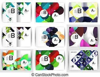 set, achtergronden, ontwerp, a4, informatieboekje , geometrisch, voorbeelden