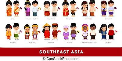set, aziaten, nationale, clothes., zuidoosten, asia., chara, spotprent