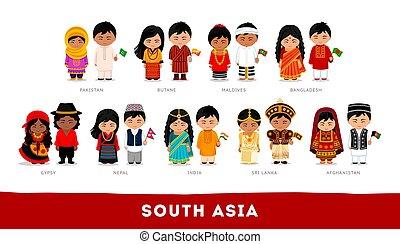 set, aziaten, nationale, karakter, clothes., asia., spotprent, zuiden