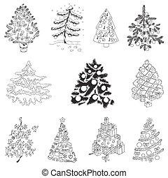 set, -, bomen, vector, ontwerp, plakboek, kerstmis