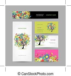 set, boompje, kaarten, ontwerp, floral, jouw