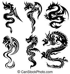 set, draken, chinees, van een stam