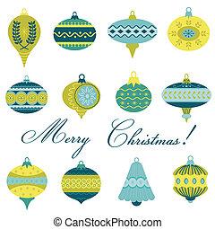 set, -, gelul, boompje, vector, ontwerp, ouderwetse , plakboek, kerstmis